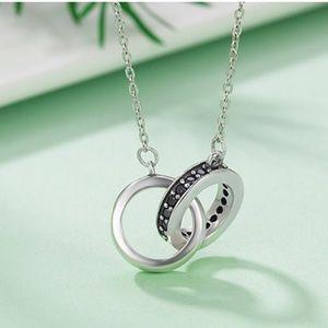 New - Alyssa 925 SS Double Circle Pendant Necklace